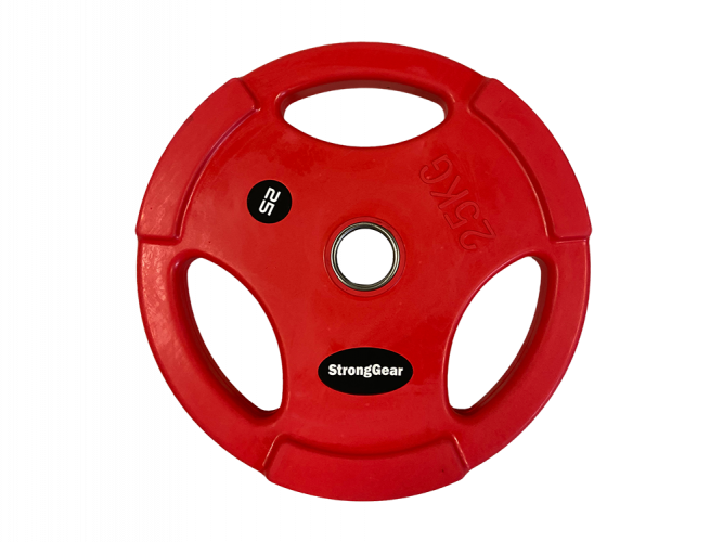 Coloured Rubberized Tri-Grip Plate - Weight: 20 kg