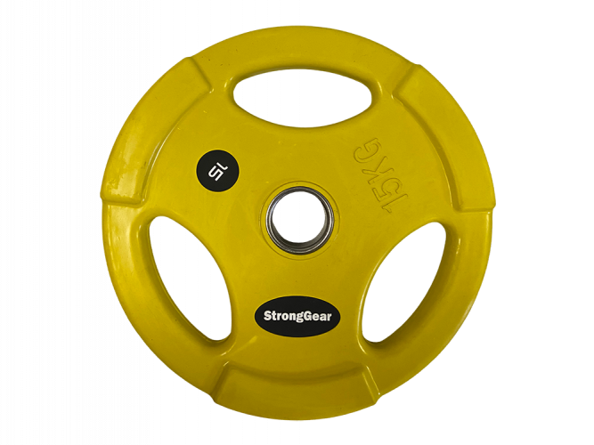 Coloured Rubberized Tri-Grip Plate - Weight: 15 kg